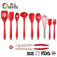 Cooking Tools 10 Piece Premium Silicone Kitchen Baking Set - Spatulas, Spoons & Turner - Heat Resistant Cooking Utensil
