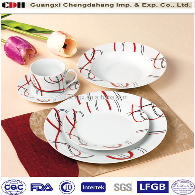 Red & Black Linellae Porcelain household dinnerwares