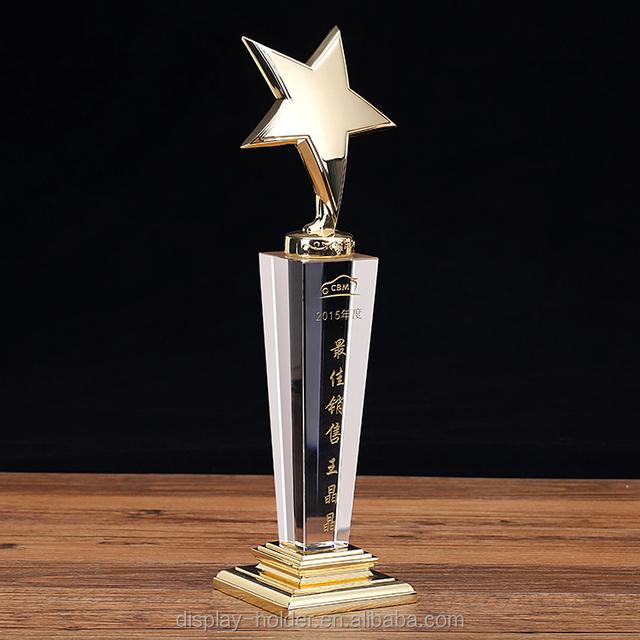K9 transparent crystal trophy plaque with metal medal for business gift