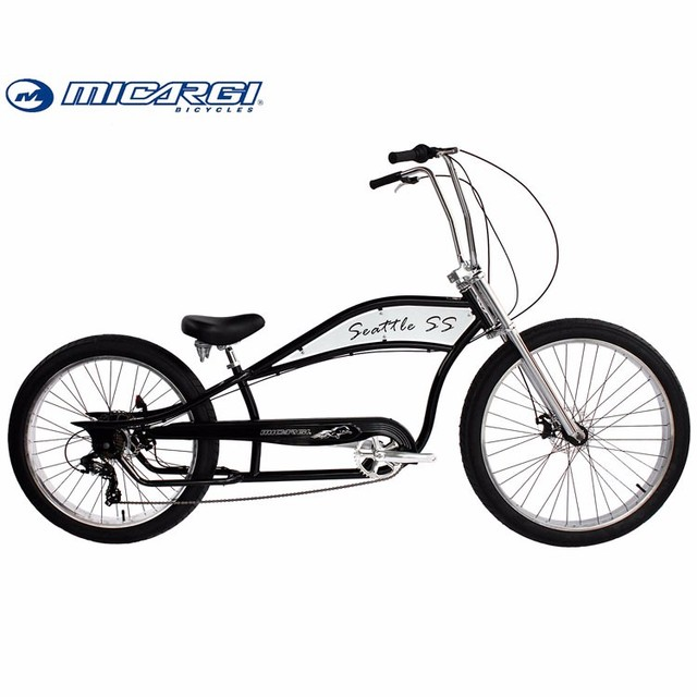 Micargi 26 inch Stretch bicycle SEATTLE SS Oversized Chopper fat tire bike snow bicicleta