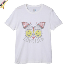 Love Life Butterfly & Smile Face Rhinestone Heat Transfer T-Shirt for Man