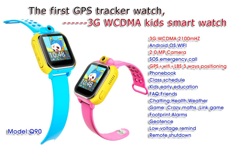 New 2018 Q90 Kids GPS Watch with 3G wifi SOS Camera