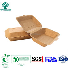Eco Friendly Wheat Straw Disposable Kraft Paper Food Container Lunch Box Packaging Box