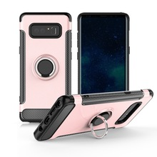 360 degree rotation shockproof carbon fiber magnetic car stand case for Samsung Galaxy Note 8 with Ring brackets,