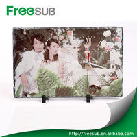 High Quatity blank sublimation rock slate photo frame with clock Wholsale Made in China