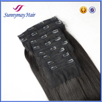 Sunnymay High Quality Wholesale 240 Grams 100% Indian Remy Hair Clips In Weft Hair Extensions With Lace