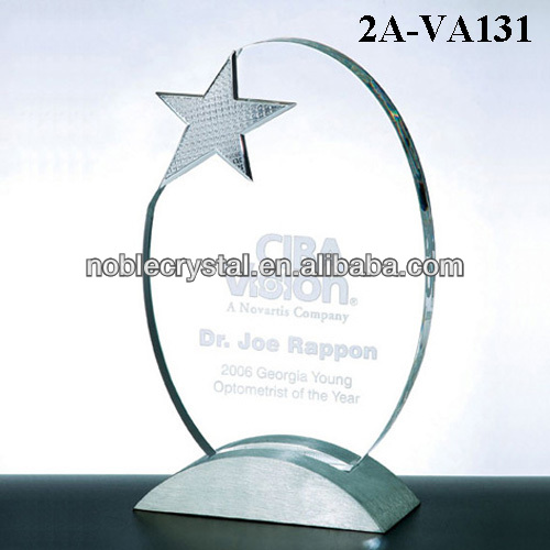 Crystal Star Oval Shaped Trophy Award on Metal Base