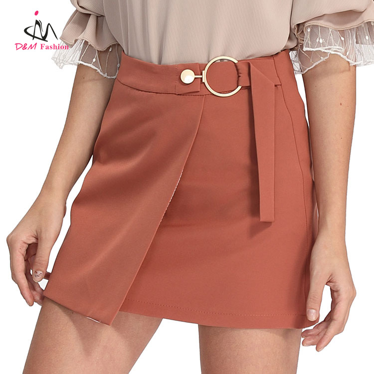 Latest Fashion Orange Ladies Nightwear Sexy Micro Mini Skirts Model Missy Mature Women Wrapped Very Short Skirt