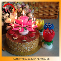 Birthday music singing rotating flower lotus cake candle unique