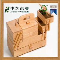 New arrival sliding drawer solid structure unfinished Wood Accordion Box needlework box sewing kit box