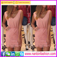 New summer pink sleeveless v-neck chiffon lace cocktail dress
