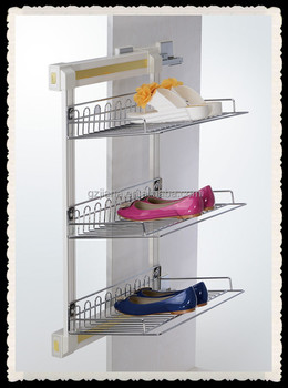 3 tier chrome slide out shoe rack for closet