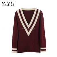 2016 Trendy women wear acrylic v-neck pullover latest design ladies sweater
