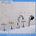 High Quality Product FLG615 Lead Free Chrome Finished Cold&Hot Water 5 PCS Bathtub 5 Holes Shower Faucet set