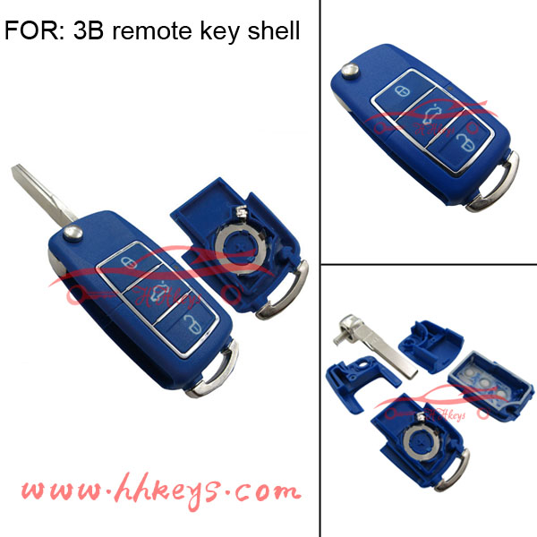 3buttons remote car key covers for VW in blue