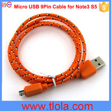 USB 3.0 To Micro USB 9Pin Cable for Samsung S5 Note3 with Date & Charging 2IN1