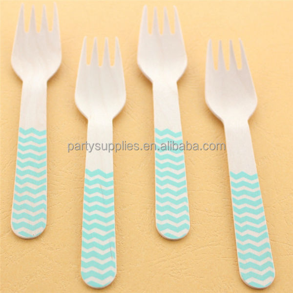 Chevron Small Wooden Forks Wooden Cutlery in Rainbow Colors