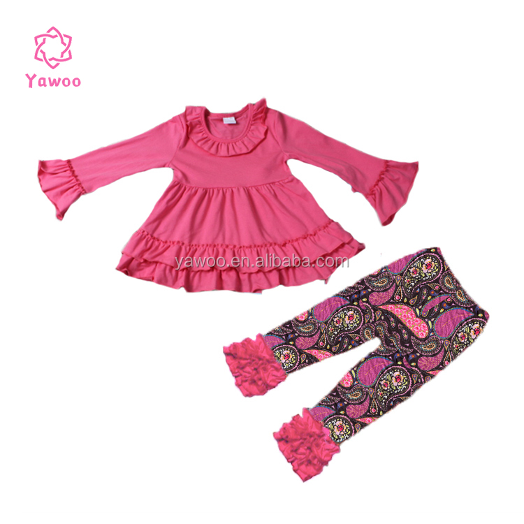 Yawoo hot pink high quality wholesale infant baby 2pcs dress pants set little girl clothes