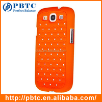 Set Screen Protector Stylus And Case For Samsung Galaxy S3 I9300 , Orange Hard Plastic Diamond Bling Mobile Phone Cover