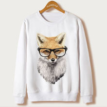 Fox Harajuku Sweatshirt Women Pullover 2017 Casual Animal Print White Hoodies Full Sleeve O-neck Women Clothing Casual Hooded