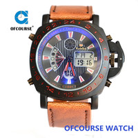 Dual time display men army design sports watch with quality brown leather band