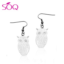 SSE38 factory hot sell stainless steel fashion vintage owl earrings cheap bulk wholesale