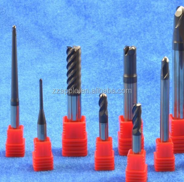 Solid 4-flute flattened tungsten carbide end mills with straight shank