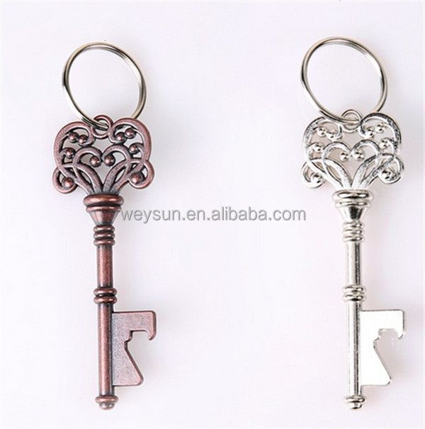 New Design Creative Wedding Favors Party Back Gifts Antique Copper Skeleton Key Beer Bottle Opener