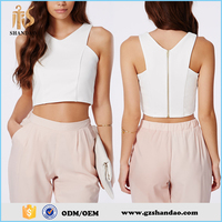 2016 guangzhou shandao plain dyed v-neck sleeveless summer fashion women wholesale bulk crop tops