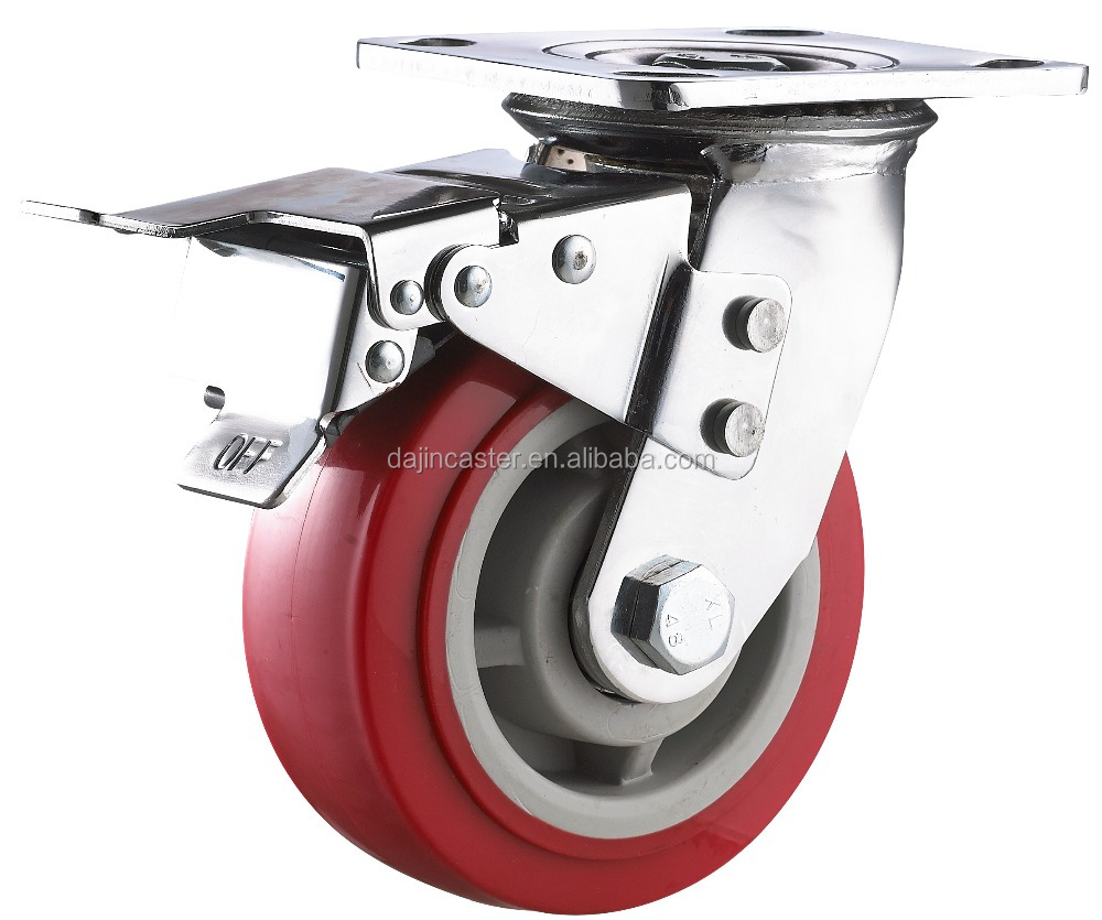 wheel castor with double brake