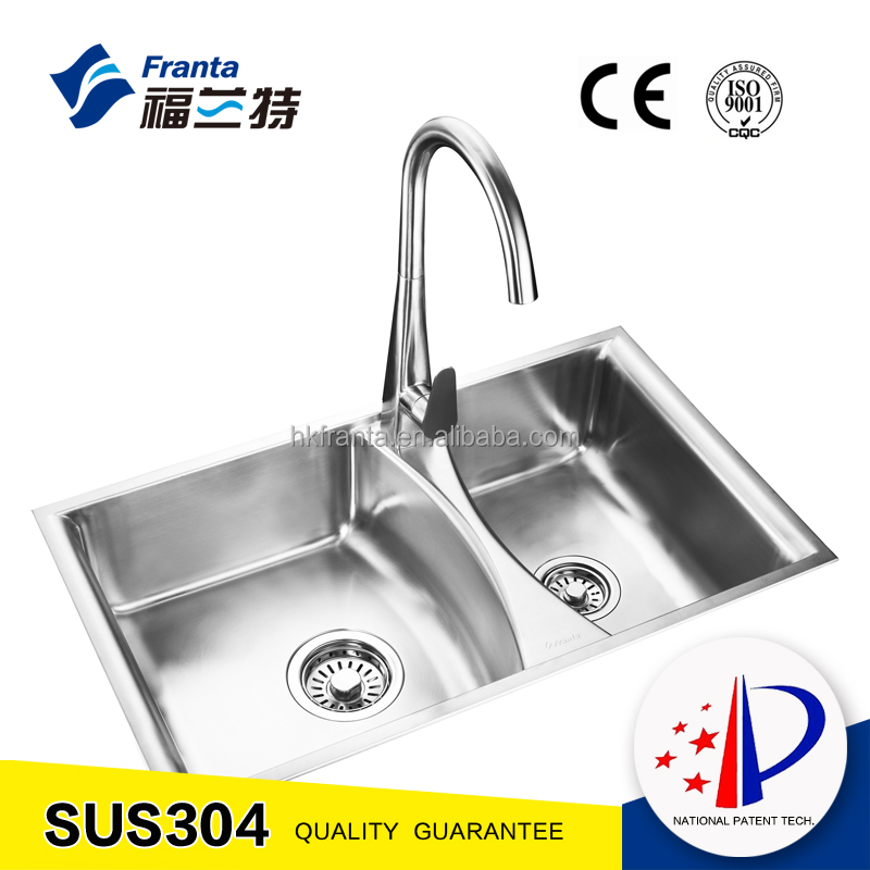 304 36 inches rectangle bowl above counter 60/40 double bowl stainless steel sink