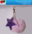 custom lovely glittering PU leather star shape keychain with artificial fur pompon