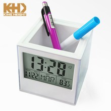 KH-0349 Penholder Digital Clock with Photo Frame Insert Desk Clock