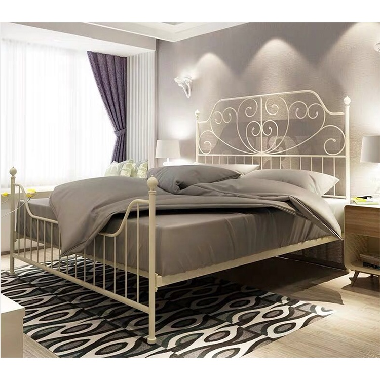 NEW Elegant Design Wrought Iron Metal <strong>Bed</strong> with King size Cream color for Bedroom DB-926