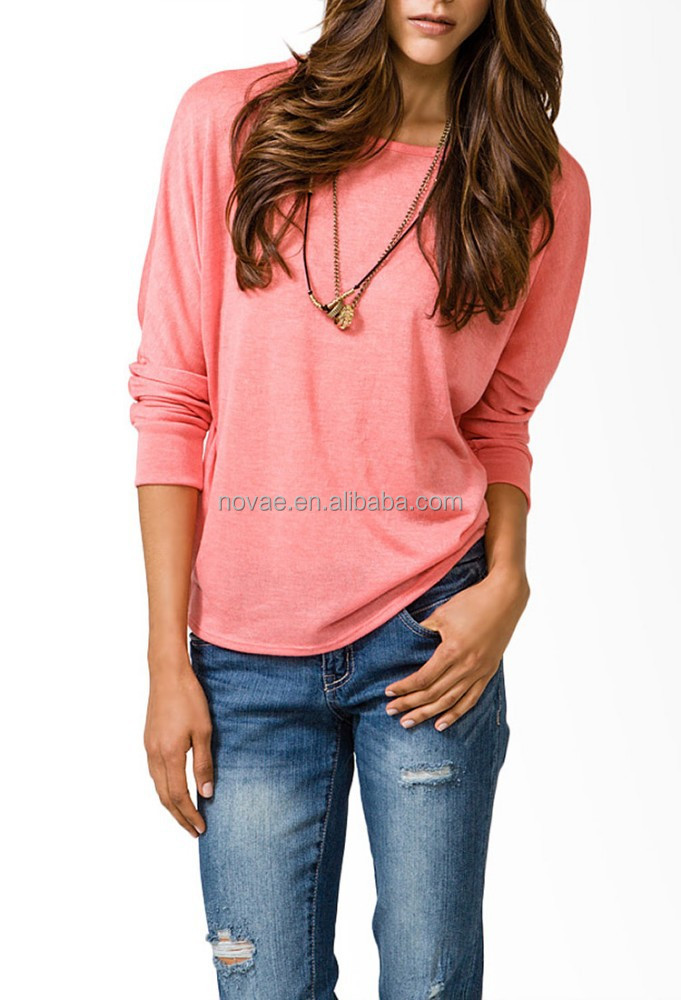 100% Polyester Solid Color Women Blouse Tops Tee Long Sleeve Plain T Shirt