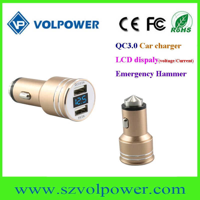 Promotional car charger with 12v 24v 3a dual usb ports QC3.0 fast charge and LCD display &emergency hammer
