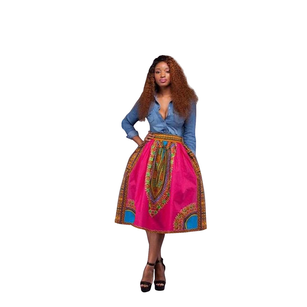 QX067 The new spring and summer Hot style restoring African national totem printed skirts