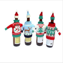 DEMIZXX443 Wholesale Custom Cute Pattern With Caps Knit Yarn Material Holiday Decorations Wine Bottle Sets Christmas Wine Cover
