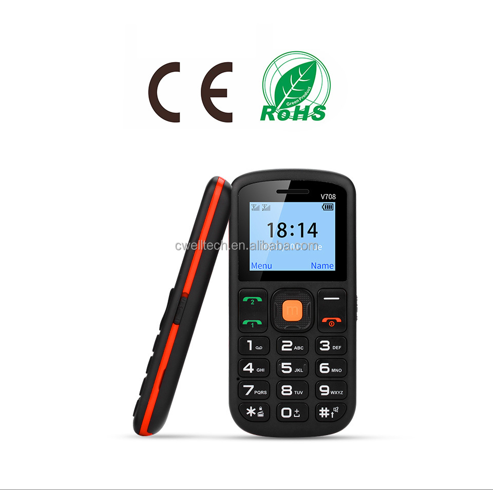New cell phone UNIWA V708 Big Button Dual SIM Quad Band FM Radio Low Price china mobile phone