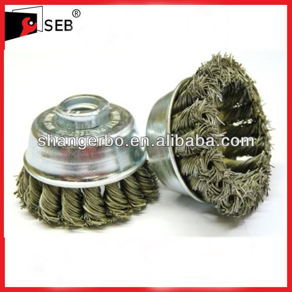 Abrasive tool twist knot steel wire cup brush