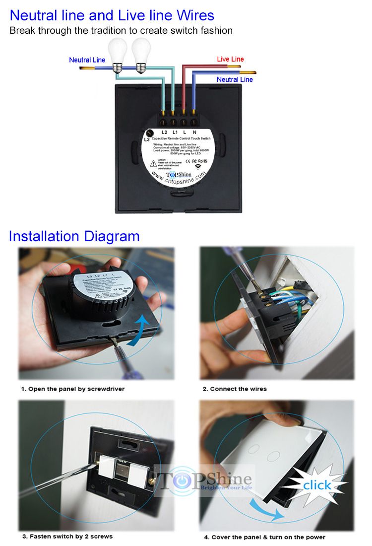 Topshine Home Automation Switch 2 Gang Rf433 Wireless Remote Touch Design And Wiring Structure Technical Parameter Of Products Nl