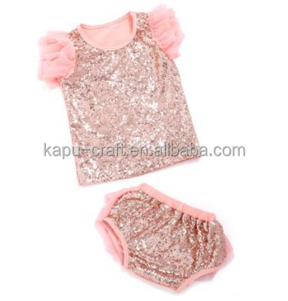 2017 Wholesale Children Boutique Clothing Baby Clothes Wear In Fall , High Quality Sequin Baby Shiny Outfits