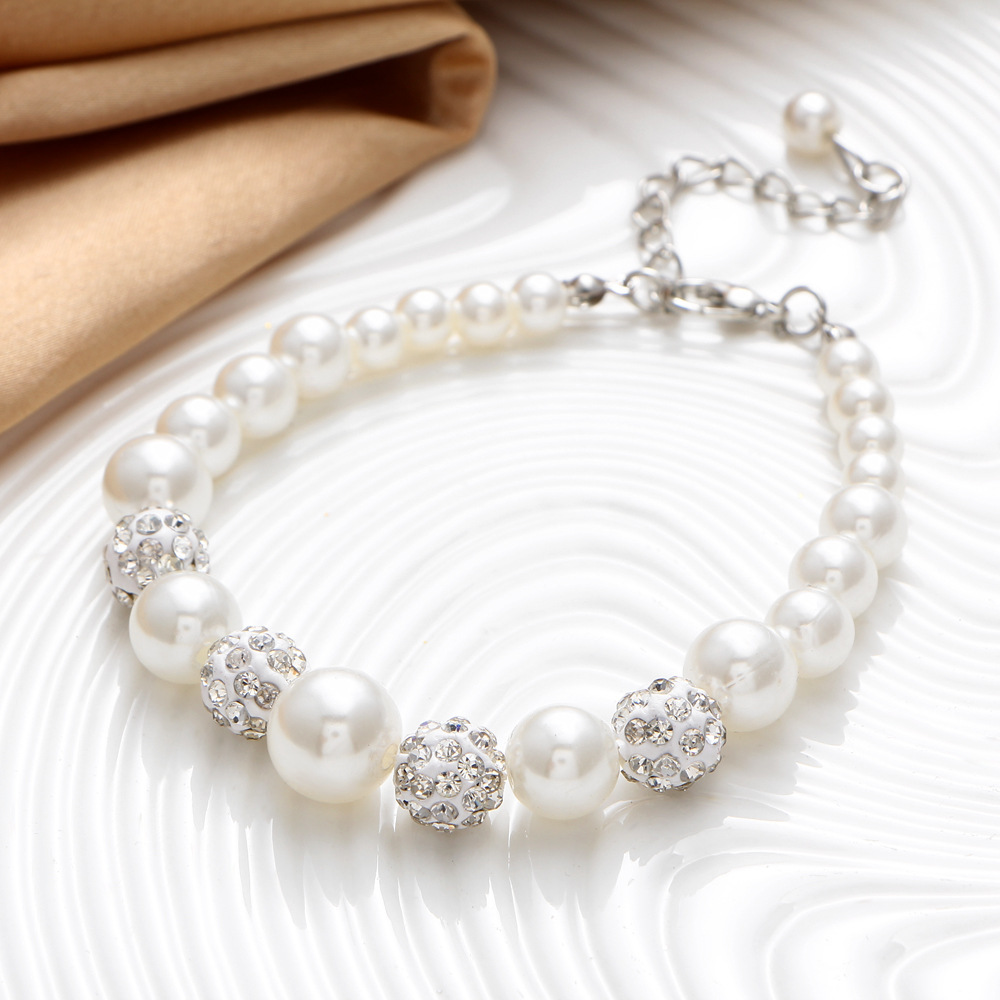 Newest Wholesale Diamante Pearls Jewelry Necklace Earrings Bracelet Set For Bridal Wedding Accessories
