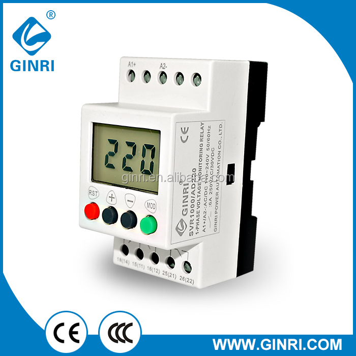 SVR1000/AD220 LCD display single phase voltage relay AC/DC 110~240V Overvoltage Undervoltage Monitoring Relay