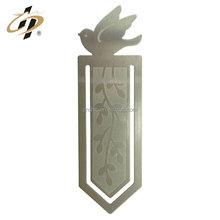 Customize silver metal etch bird logo metal copper bookmark