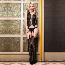 Knitted seamless jacquard transparent strappy garter sexy girl hot net bodystocking