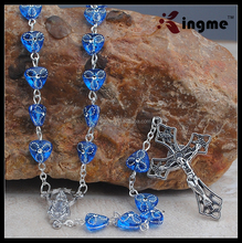 dark blue plastic heart-shaped beaded rosary religious free rosary necklaces