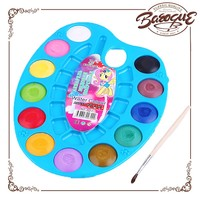 High quality 12pcs water color paint cakes palette set for school,solid powder watercolor cakes in plastic box