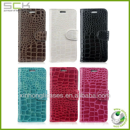 hot croco leather wallet case flip cover for htc one m7