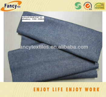 100pct cotton indigo chambrary denim fabric for skirt and shirt